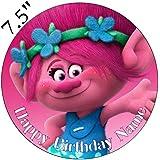 Adorno para tarta de glaseado comestible, diseño de Trolls personalizable,19 cm, redondo