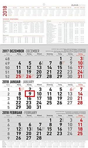 3-Monatskalender groß 2018 - Wandplaner / Bürokalender (30 x 49) - mit Datumsschieber - mit Jahresübersicht