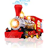Bubble Blowing Toy Train By CifToys - Battery Powered Steam Bubbles Locomotive Engine - Colorful Lights & Fun Sounds - Constant Motion & Automatic Change Of Direction - 3 And Up (Trademark Protected)