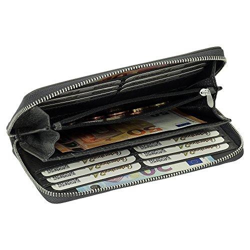 Lungo scambio XXL 18 slot per schede di lusso Leder Damen borsa del portafoglio marrone incl. Ledershop24 Portachiavi, Grau Grau