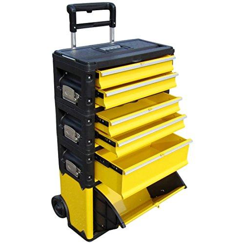 ASS PROFI Chariot à outils en acier 5 tiroirs et bac pliable Solidité à toute épreuve