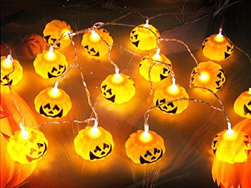ELENKER 16 LED Kürbis Lichterkette für Halloween Weihnachten Warmweiß, 2,5m lang, 3 Lichtmodis