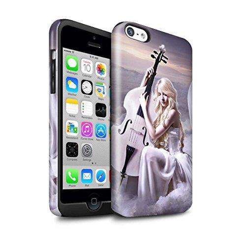 Officiel Elena Dudina Coque / Brillant Robuste Antichoc Etui pour Apple iPhone 5C / Chanson de Fleurs Design / Réconfort Musique Collection Violoncelle/Nuages