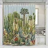 JOTOM Tende da Doccia Non Sbiadimento Durevole Poliestere Cactus Fogliame Fenicottero Modello Shower Curtain Resistente con 12 Ganci, 180x180cm (Cactus)