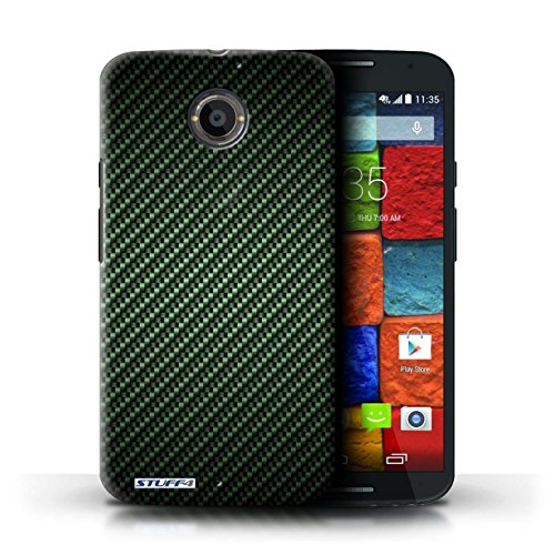 Kobalt® Imprimé Etui / Coque pour Motorola Moto X (2014) / Gris conception / Série Motif de Fibre de Carbone Vert