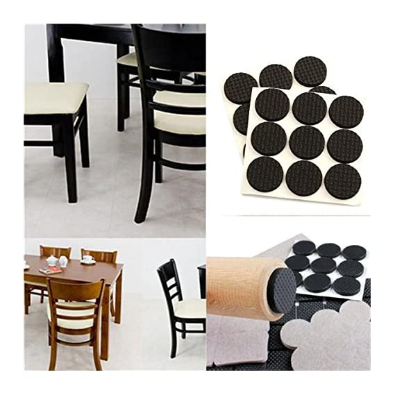 SpiderJuice Round Self Adhesive Rubber Pads for Furniture Floor Scratch Protection (Standard Size, Black) -18 Pieces