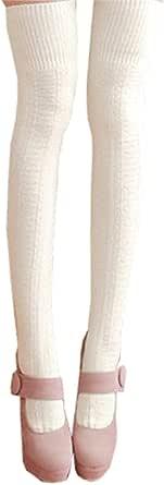 Hishiny Calzini sopra il ginocchio, Donne Ginocchio Calzini + Gambe Scaldamuscoli Donna Sopra i Calzini Lunghi Del Ginocchio Coscia Calze lungo Knitting Cotone Calzini Inverno Calze