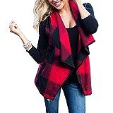 Damen Ärmellose Weste Jacke Mode Cardigan Frauen Oberteile Plaid Mantel Ärmellos Strickjacke Tops Kariertes Hemd Schwarz Rot L Meedot