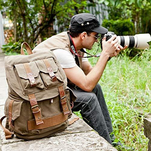 Preisvergleich Produktbild WEATLY Retro SLR-Kamera-Fotografie-Taschen-Rucksack-Starke stoßdämpfende Zwischenlage-Segeltuch-Tasche (Color : ArmyGreen)