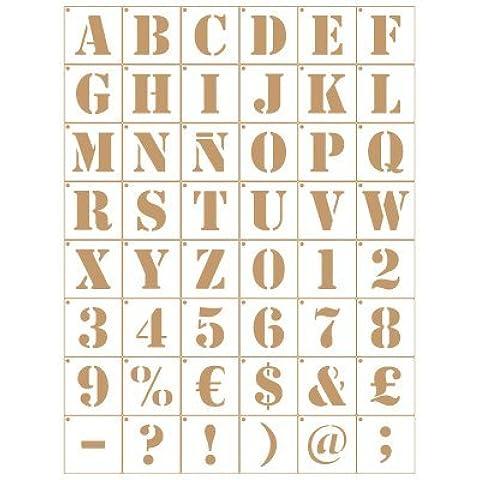 Stencil Deco Abecedario 007. Medidas aproximadas: Medida exterior del stencil: 20 x 30 cm Medida del diseño:1,6 x 1,5 cm Medida de la figura 1: 1,6 x 1,5