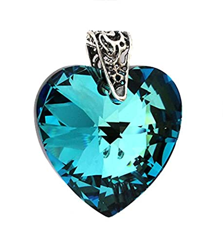 28mm Bermuda Blue Crystal Heart Pendant with Sterling Silver Filigree Bail - Pendant Only - Crystals from Swarovski - Turquoise and Dark Ink Blue