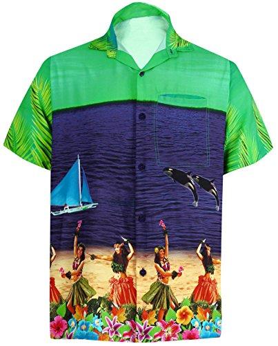 La-Leela-Shirt-Camisa-Hawaiana-Hombre-XS-5XL-Manga-Corta-Delante-de-Bolsillo-Impresin-Hawaiana-Casual-Regular-Fit-Camisa-de-Hawaii-Azul-Marino-DRT051-M