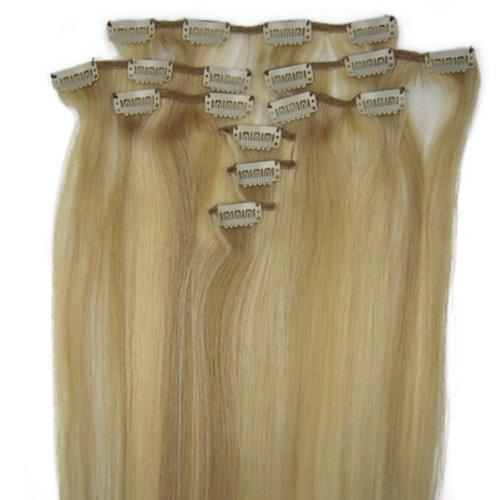 fashionline 38,1 cm Blond Highlight (# 18/613) 100% Remy Hair Lot de 8 extensions capillaires à clipser 100 g poids