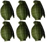 Confezione da 6 bambini dell'esercito verde del giocattolo bombe a mano - con luce lampeggiante e suono - Gioco di Ruolo