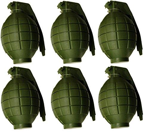 Paquete de 6 niños Ejército de juguete verde granadas de mano - con la luz intermitente y el sonido - Roleplay