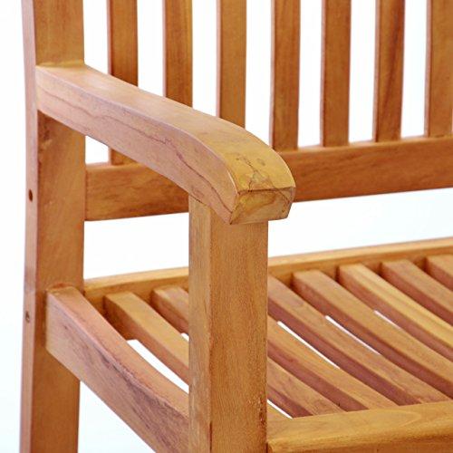 DIVERO 3-Sitzer Bank Holzbank Gartenbank Sitzbank 180 cm – zertifiziertes Teak-Holz behandelt hochwertig massiv – reine Handarbeit – wetterfest (Teak behandelt) - 4