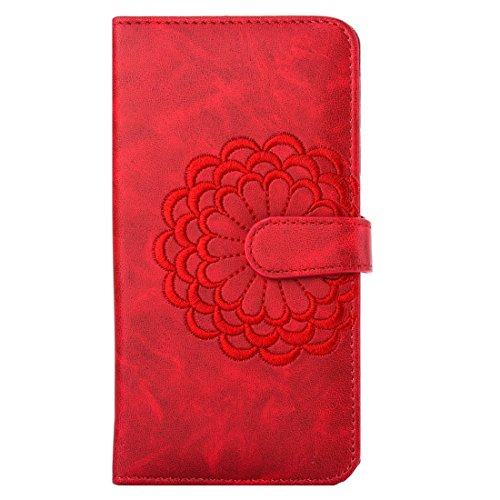 iPhone Case Cover For iPhone 7 Broderie Flower Pattern Flap Horizontal Leather Case avec Holder & Card Slots & Portefeuille & Cadre Photo ( Color : Gold ) Red