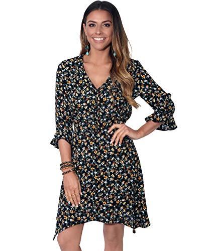 Damen Kleid Rüsche Blumenmuster Asymmetrisch; Gelb (3411); 34; 3411-YEL-06 - Kleid Rüschen Rock