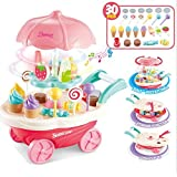 Babytintin Sweet Shopping Cart Luxury Battery Operated Ice Cream Trolley Set For Kids Pretend Roll Play Sweet Cart Real Toy Play Set With Led Lights & Music Learning & Educational Toy Set For 3+ Age Boys & Girls Kids, Multi Color (30 Pcs)