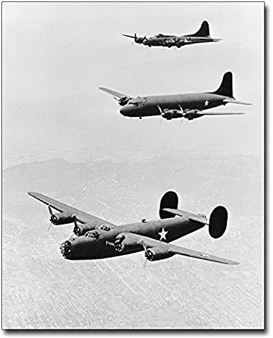 B-17, C-54 & B-24 Bomber WWII 8x10 Silver Halide Photo Print by The McMahan Photo Art Gallery & Archive