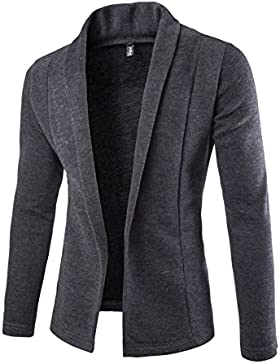 HY-Sweater Pull de Color Sólido Hebilla Simple No Fashion Casual Cardigan de Manga Larga Slim, Dark Gray, Extra-Large