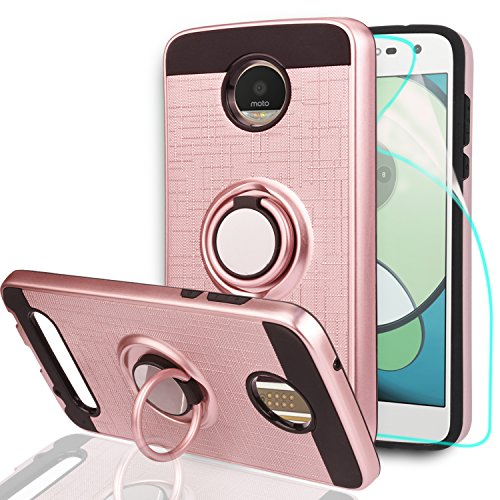 Athchu Handyhülle Moto Z2 Play Hülle mit HD-Displayschutzfolie, 360 Grad drehbarer Ring & Halterung Dual Layer Resistant Cover für Motorola Moto Z2 Play Hülle Cover- ZH Roségold