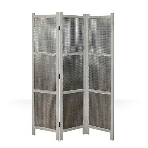 Homestyle4u 978, Paravent Raumteiler 3 teilig, Holz Vintage, Grau - Geflecht Raumteiler