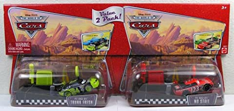 Disney Pixar - CARS - THE WORLD OF CARS - Die-Cast 1:55 - PIT RACE-OFF - 2-PACK - TRUNK FRESH & NO STALL - (Diecast Pit)