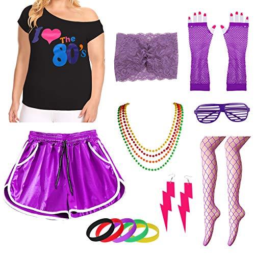 Womens Plus Size Ich Liebe die 80er Jahre T-Shirt mit Shorts Kostümzubehör-Set (1X/2X, Purple) (Womens Disco Kostüm Plus Größe)