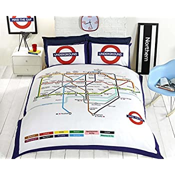 Ben de lisi home multicoloured printed world explorer bedding set underground london undgerground tube duvet cover and pillowcases bedding bed set double white gumiabroncs Choice Image