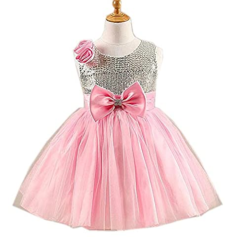 Byjia Princess Kids Clothes Gown Dresses Sequins Tulle Chiffon Wedding Pageant Bridesmaid Christening Sleeveless Birthday Party Costumes Children Skirt Flower Girls Dress Pink