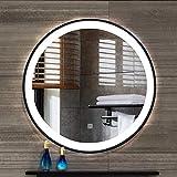 DELM Miroir de Salle de Bain Lumineux Rond,Miroir Blanche LED éclairée, Miroir de...