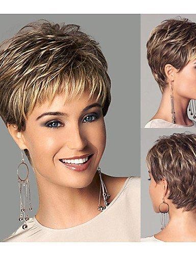 Synthetische Perücken des Art- und Weisechic-Stils Kurzes gerades Haar Hellbraune Perücken mit Knallen Volle natürliche Perücken für Frauen (Medusa Haar Halloween)