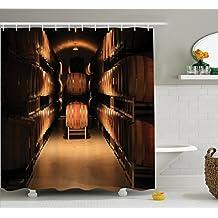 Bodega Decor cortina de ducha Set por Ambesonne, vino barril apilados en bodega años Old fermentación calidad contenedor de almacenamiento sótano imagen, accesorios de baño, 84pulgadas ExtraLong, arena marrón