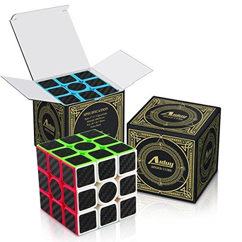 Aiduy Zauberwürfel 3x3, Speed Cube Kohlefaser Smooth Aufkleber Magic Würfel Puzzles -