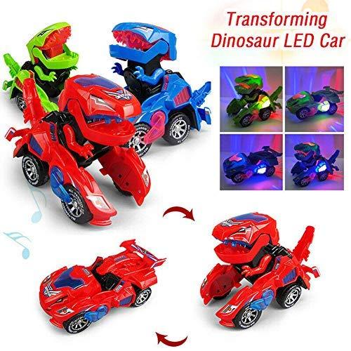 Kinder transformiert Dinosaurier Roboter Auto - Elektrisches Spielzeug Verformungs-LED-Auto-Kinderdinosaurierspielzeug Spielen Sie Fahrzeuge mit leicht Blinkender Musik (zufällige Farben, 1)