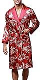 VERNASSA Herren 45'inch Lange Klassische Satin Schlafanzüge Charmeuse Morgenmantel Homewear , Kimono Bademäntel Robe mit Gürtel, Multicolor -Muster, Größe für L-XXL