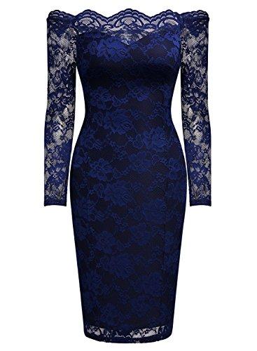 MIUSOL Damen Schulterfrei Spitze Cocktailkleid Etuikleid langarm Stretch Kleid Blau Gr.L -