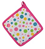 Homescapes Topflappen Polka Dots Multi, pink gelb blau grün ca. 20 x 20 cm, Untersetzer aus 100% reiner Baumwolle mit Polyesterfüllung, waschbarer Topfuntersetzer