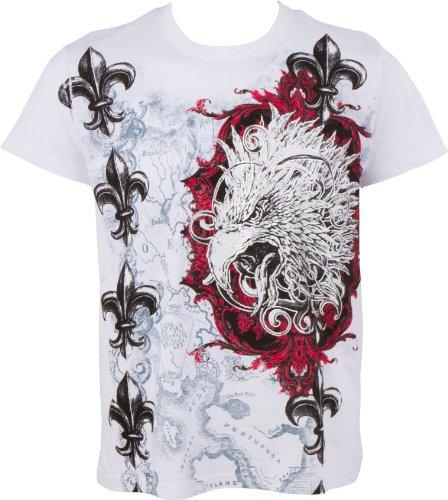 Sakkas Eagle Head and Fleur de Lis T-Shirt aus Baumwolle für Männer Weiß