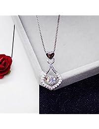 KOMO Vêtements Femme 925 pendentif en argent collier Pendentifs pendentifs amour âme simple chaîne clavicule,45cm, les gouttelettes d'eau