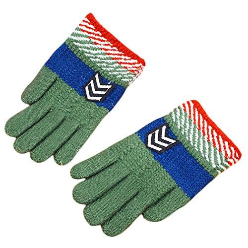 Hikfly Jungen Strick Magic Handschuhe Fäustlinge für Outdoor-Sport thermische Handschuhe Wärmer Handschuhe Weihnachten Geschenk (5-10 Jahre) (Pfeil, Grün)