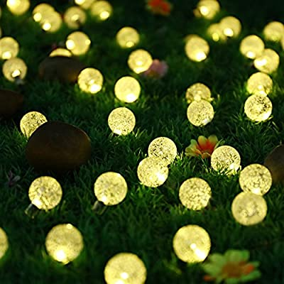 Light-up 30 LED 19.7ft Christmas Solar Powered Crystal Ball Lights Warm White Globe Fairy String Light for Garden Landscape, Bedroom, Home, Garden, Patio, Xmas Tree, Party, Outdoor, Indoor Decorations