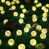 Light-up 30er LED Solar Lichterkette Außen Globe Garten Kristall 6 Meter,warmweiß Außenlichterkette Wasserdicht mit Lichtsensor Weihnachtsbeleuchtung Beleuchtung für Weihnachten