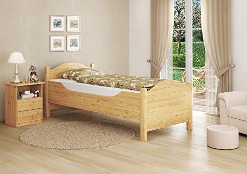 Erst-Holz 60.40-10 Seniorenbett extra hoch – mit Rollrost – 100×200 – Massivholz Natur