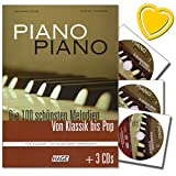 Piano Piano 1 mittelschwer - Die 100 schönsten Melodien von Klassik bis Pop - Das Spielbuch zu jeder Klavierschule mit 3 CDs - Autor Gerhard Kölbl - ( mit herzförmiger Notenklammer )