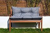 Cristal Gartenbankauflage Bankauflage Sitzpolster Bankkissen Sitzkissen und Rückenkissen Polsterauflage leicht zu reinigen (110 cm, Grau)