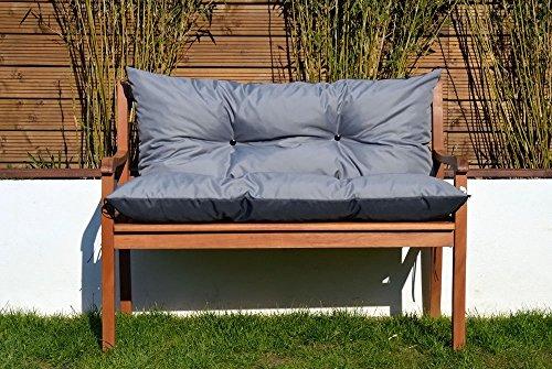 Gartenbankauflage Bankauflage Sitzpolster Bankkissen Sitzkissen und Rückenkissen Polsterauflage leicht zu reinigen (110 cm, Grau)