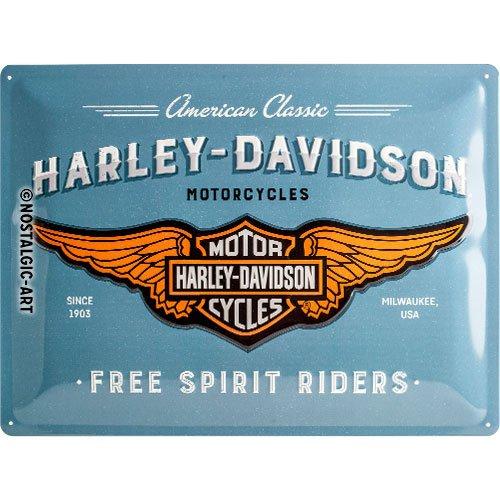 Nostalgic-Art 23244, Harley-Davidson-Logo Blue, Blechschild 30x40 cm Cartello, Metallo, Blu, 30 x 40 x 0.2 cm