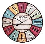 WOHNLING Wanduhr XXL ¯ 60 cm Old-Town Küchenuhr Vintage-Look Bahnhofsuhr modern Römische Ziffern mehrfarbig stilvoll Wohndeko Design Wohnzimmeruhr Wanddekoration elegant Designuhr Wohnraumdekoration